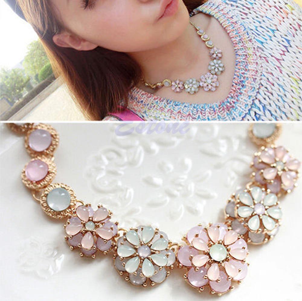 New Womens Sweet Pearl Flower Pendant Metal Chain Collar Bib Statement Necklace(China (Mainland))