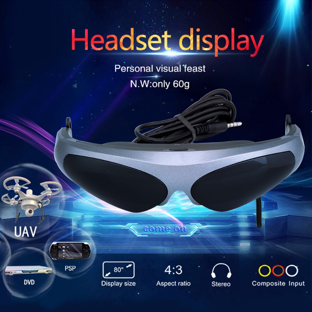 Excelvan 922A 2D Virtual Reality Video Glasses 80inch HD Screen 640*480 Resolution FPV Goggle For Multicopter Drone(China (Mainland))