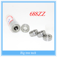 Free shipping 50pcs/lot 688ZZ 688Z 688 ABEC-5 8*16*5 Miniature Ball Radial Deep Groove Ball Bearings for 3D printer part