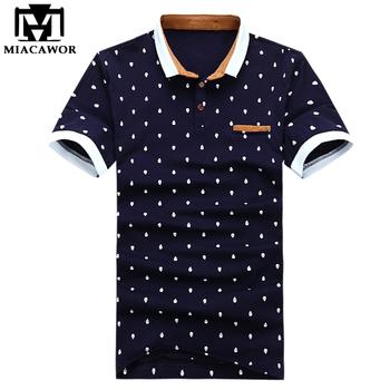 New 2016 Brand POLO Shirt Men Cotton Fashion Skull Dots Print Camisa Polo Summer Short-sleeve Casual Shirts MT437