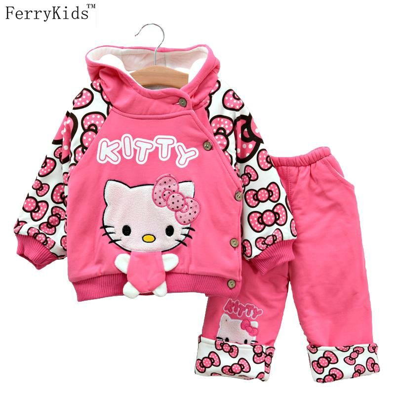 2015 Baby Clothing Girl Clothes Winter Snowsuits Set Hello Kitty Toddler Suit Conjuntos Roupas Infantil Meninas - LeleBaby Store store