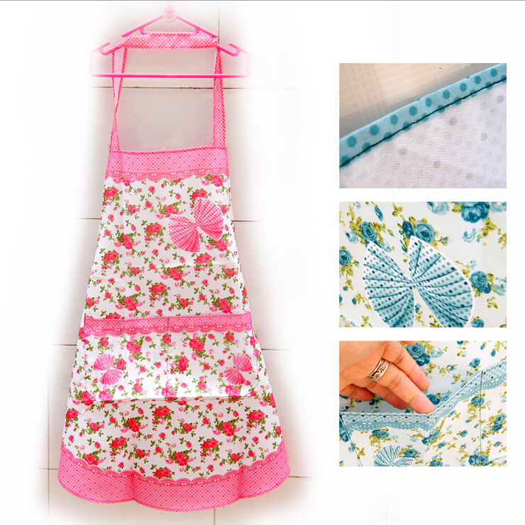 Household butterfly Korean fashion waterproof aprons custom 5 colors with Pocket For Women Girls Cooking Bib Apron(China (Mainland))