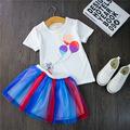 2016 new t shirt Skirt baby kids suits 2 pcs fashion girls clothing sets rainbow children