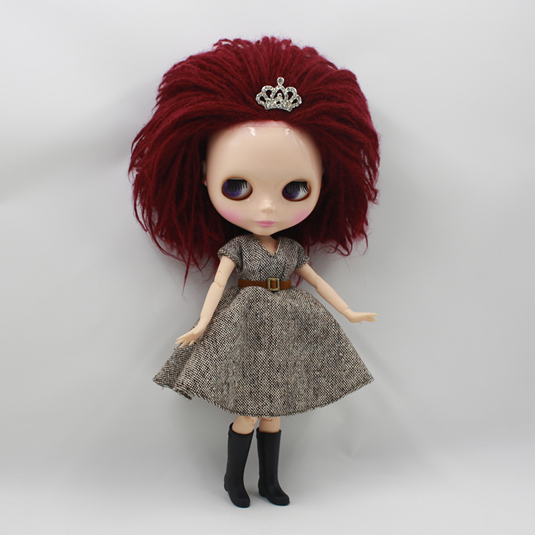 Nude blyth doll diy makeup doll special Burgundy wool hair blyth doll with joint body <br>