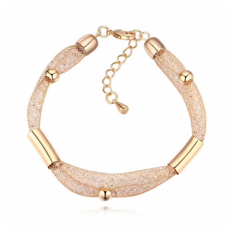 2017 New Fashion Design Crystal From Swarovski Mesh Bag Statement Bracelets For Women Brand Wedding Jewelry