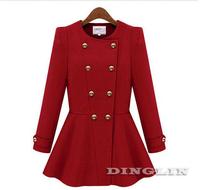 Vogue Elegant Coat Women Long Sleeve Double-breasted Cashmere Peplum Winter Coat Parka Jacket Overcoat S M L Free Shipping 0197