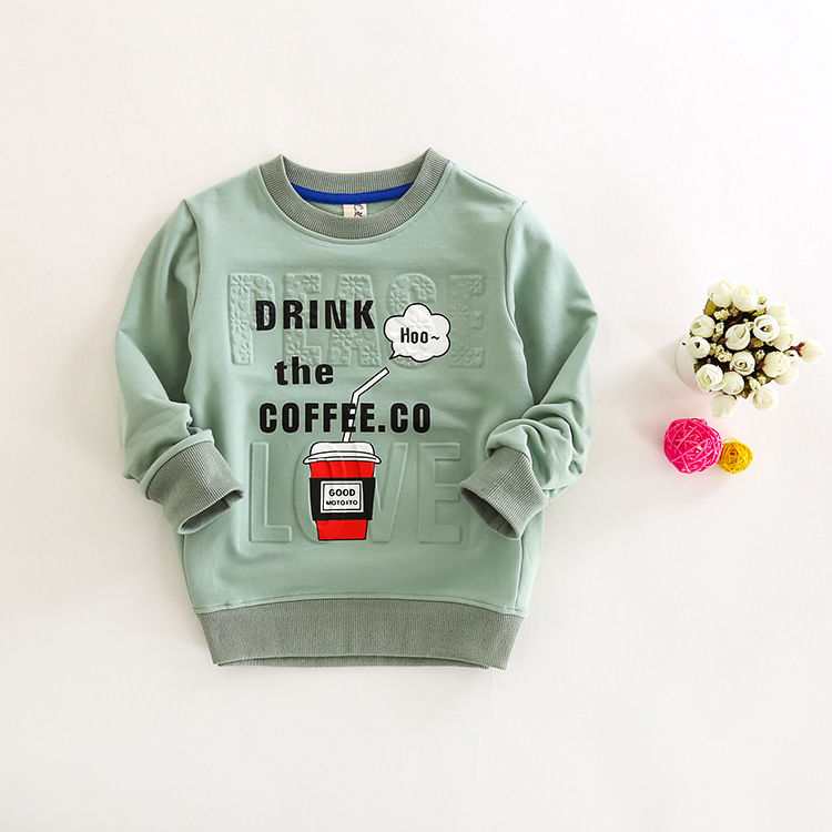 New Autumn Children Boys T Shirt Long Sleeve Cotton T Shirt For Girl Stereo Embossing+ Letter Print Boy Clothes Girl Clothing(China (Mainland))