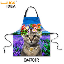 Funny Women Cartoons Aprons, Featured 3D Cute Cat Mom Aprons,Novelty Sexy BBQ Party Apron Bib, Creative Kitchen Cooking Apron