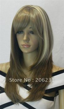 Fashion Hairstyle Long Straight Blonde&Brown hair wigs prom Wig 10pcs/lot Free shipping