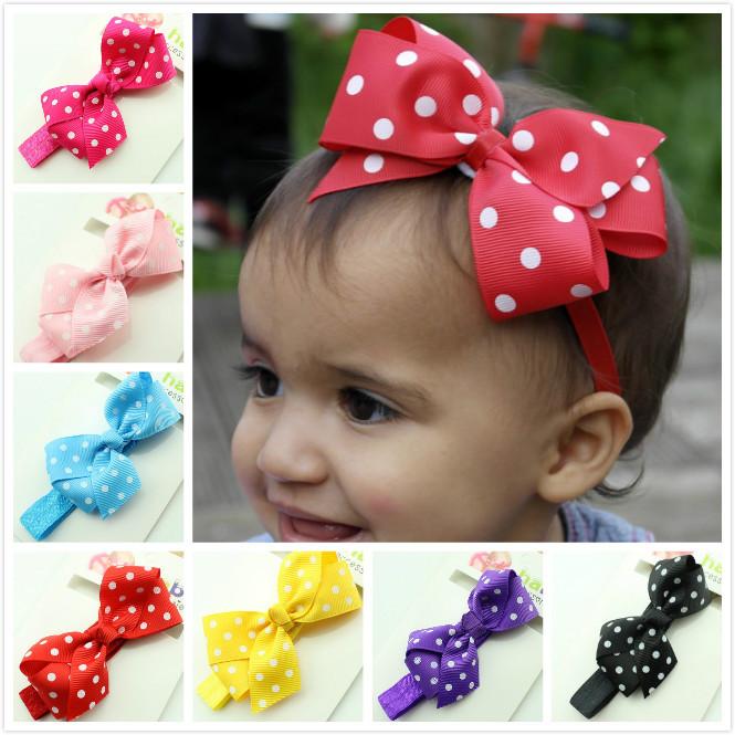 Polka Dot Bow Headband Baby Girl Headbands 12 Colors Children Hair Bow Elastic Infant Kids Hairband CNHB-15062301(China (Mainland))
