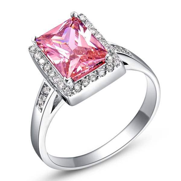 Fashion Pink Wedding Rings Ruby 925 Silver Jewelry Women Purple Rainbow Ring Square Blue CZ Diamond