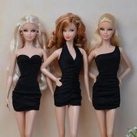 3Pcs/lot Original Mini Sexy Evening Party Gown Mix Style Lace Tee Dress Skirt Clothes Outfit For 1/6 Kurhn Barbie Doll Gift