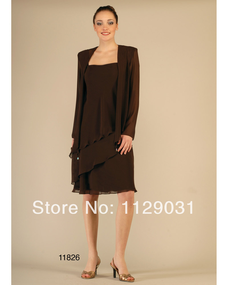 New 2014 Vestido Plus Size Two Piece Tea length Grandmother/Mother of the Bride Dresses with ...