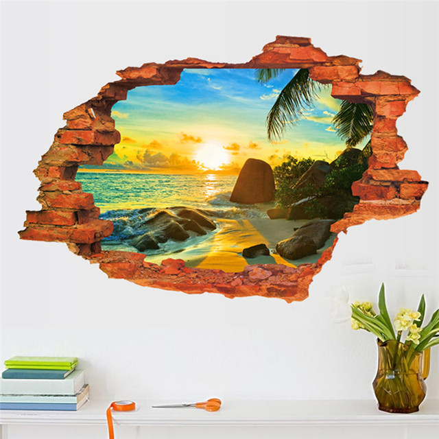 Поддельные окна солнце на пляж съемный наклейки пвх 3d через стены отличительные знаки главная спальня cалон декор