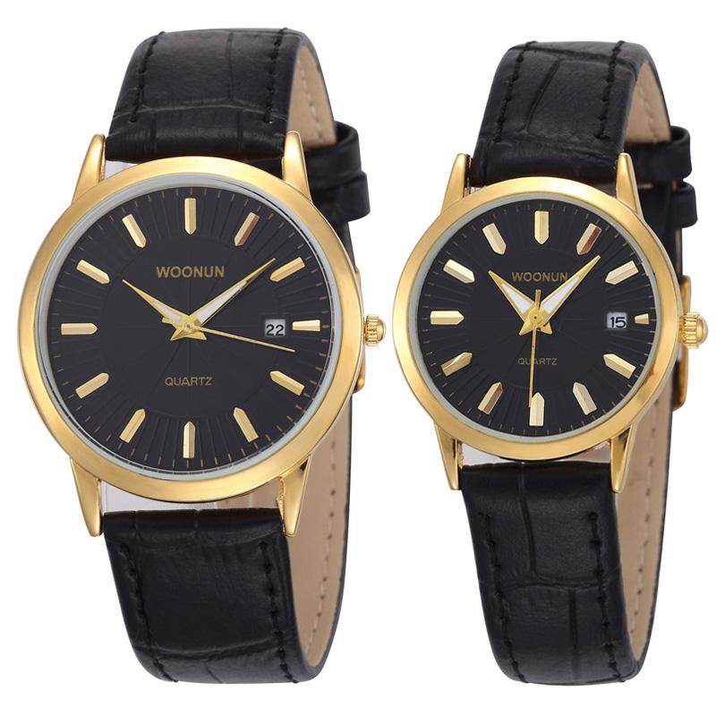 WOONUN Top Luxury Brand Couple Watches For Lovers Genuine Leather Strap Men Women Quartz Watches Fashion Pair Watches Best Gift<br><br>Aliexpress