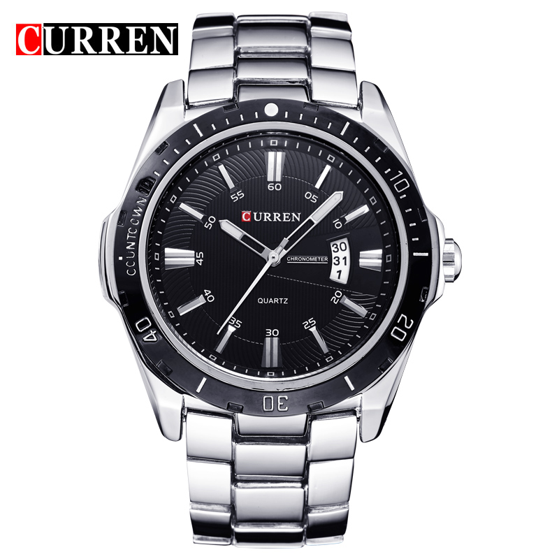 CURREN 8110 Mens Luxury Fashion Casual Band Stainless Steel Japan Date Quartz Watches  Business Dress Wristwatches Masculino<br><br>Aliexpress
