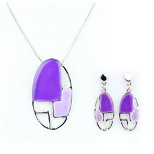 Simple Fashion Jewelry Set Purple Nickel Free Jewelry Pendant Necklace Set Earrings for Women Silver Enamel Jewelry(China (Mainland))