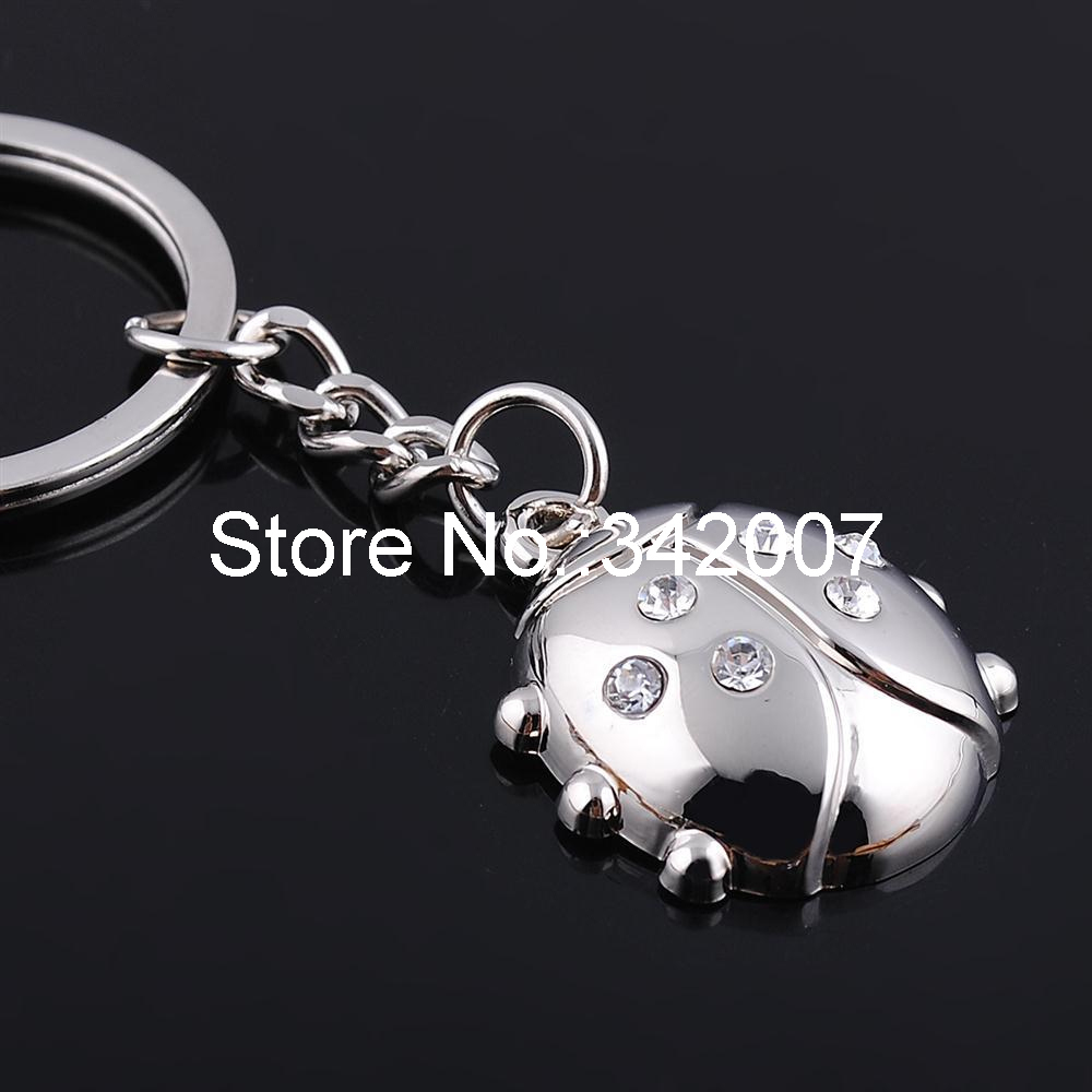Free shipping fashion chaveiro yiwu market creative design Seven-spotted lady beetle pattern with seven rhinestone key chain(China (Mainland))