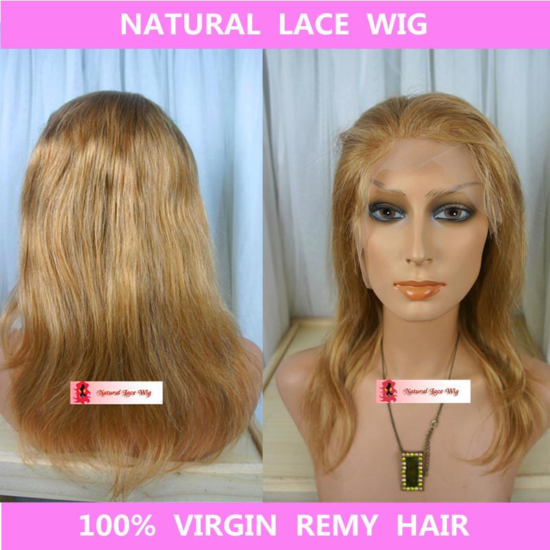 Здесь можно купить  Free shipping Indian virgin hair dark blonde front lace wigs top selling full lace human hair wig virgin wig with free cap gift  Волосы и аксессуары