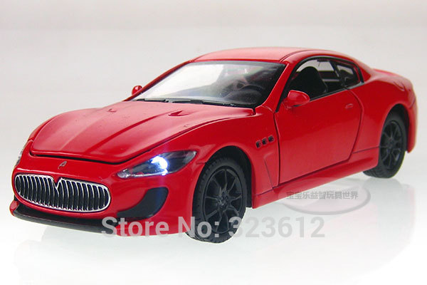 Free shipping New 1:32 Maserati GT Alloy Diecast Vehicle Car Model Toy Collection With Sound and Light Red B2224(China (Mainland))