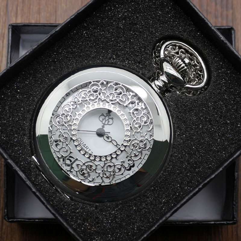 Fashion Silver Hollow Quartz Steampunk Pendant Necklace Chian Pocket Watch Gift Box P226 - Guangzhou Conbays Technology Co., Ltd. store