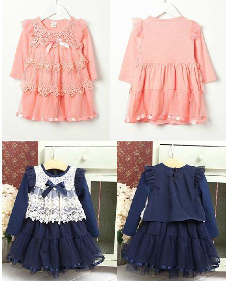 2014 New autumn baby girl dress blue pink long sleeve lace bow cute girls princess children dresses