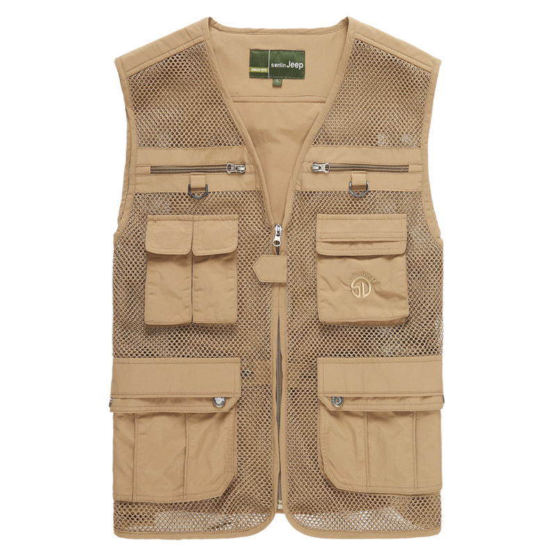 Quality Men's Casual Vest Outdoor Multifunctional Fishing Vest Multi-pocket Waistcoat Vest Male Sleeveless Jacket M-4XL(China (Mainland))
