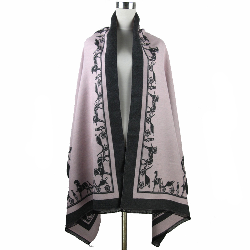 Europe America Fashion Brand Cashmere Pashmina Poncho Lady Winter Thick Cape Poncho Reversible Shawl Scarf Stole 188*64 cm(China (Mainland))