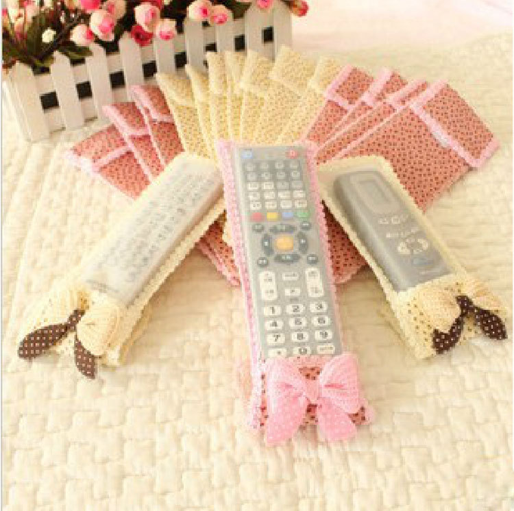 Cloth Remote Control Cases Bowknot Lace Air Conditioning Remote Control Protective Cover Creative Home Supplies(China (Mainland))
