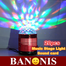 Colorful flashing lights sound card, music revolving stage lights, mp3 player, consumer electronic products, free shipping,20x