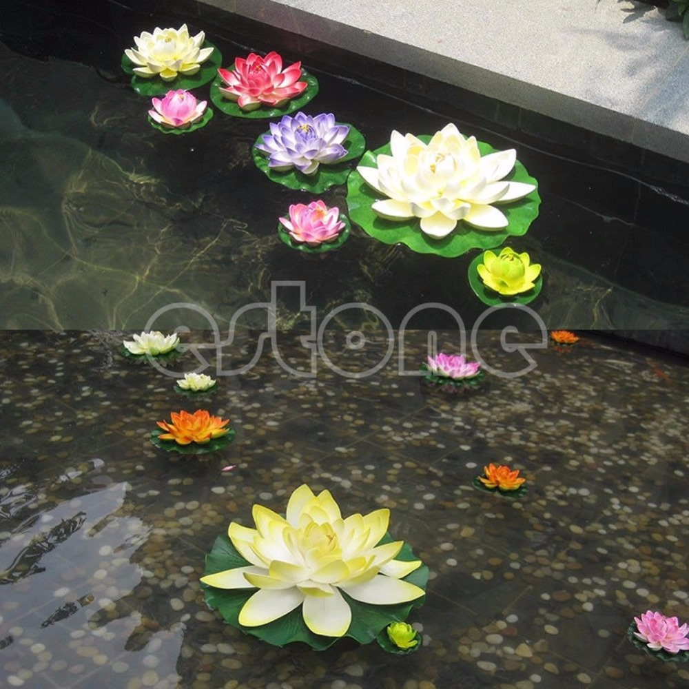 Free Shipping Floating Lotus Flower Aquatic Fish Tank Ornament Aquarium Garden Pond Decor New