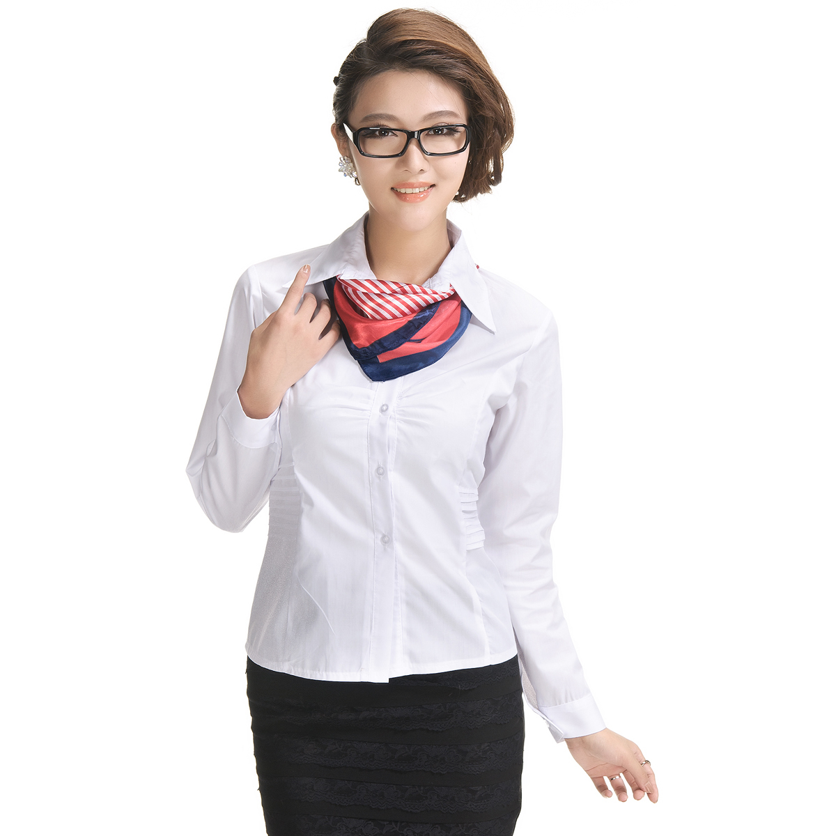 Cy001 long-sleeve slim shirt work wear women's white shirt OL outfit ...