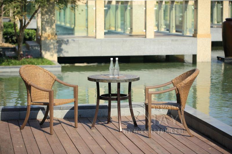 3-pieces rattan wicker aluminum patio furniture garden furniture Outdoor furniture transport by sea(China (Mainland))
