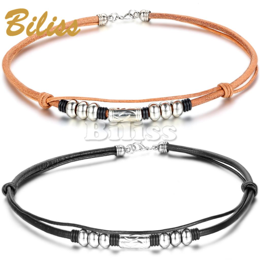 Celebrity Double Layer Brown / Black Imitation Leather Choker Necklace Mens Gothic Chain Charm Pendant Vintage Jewelry 18inch(China (Mainland))