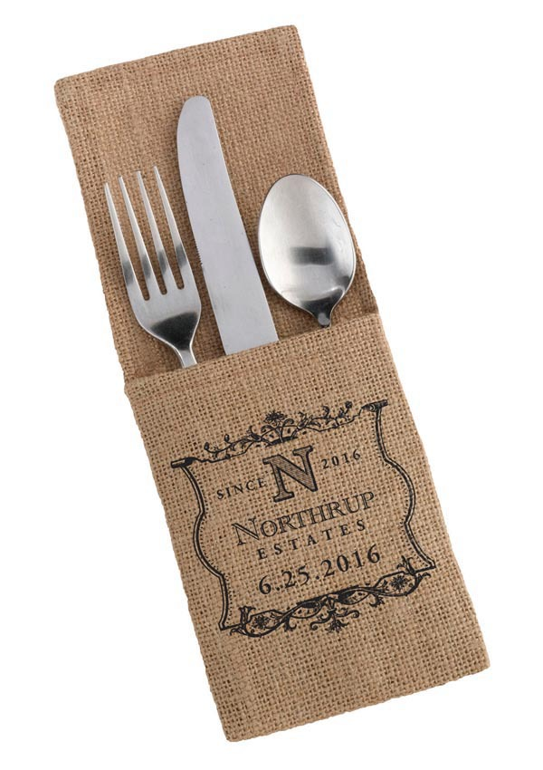 100pcs/Lot Unique Personalized Name & Date Burlap Silverware Holders Wedding Reception Decoration Cutlery Pockets DHL Shipping(China (Mainland))