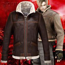Resident Evil 4 Leon Scott Kennedy Leather jacket men casual coat(China (Mainland))