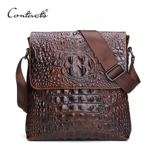 CONTACT'S 2016 Genuine Leather Men Bag For Mele Crocodile Style Men's Business Messenge Bag Tablet PC handbag(China (Mainland))