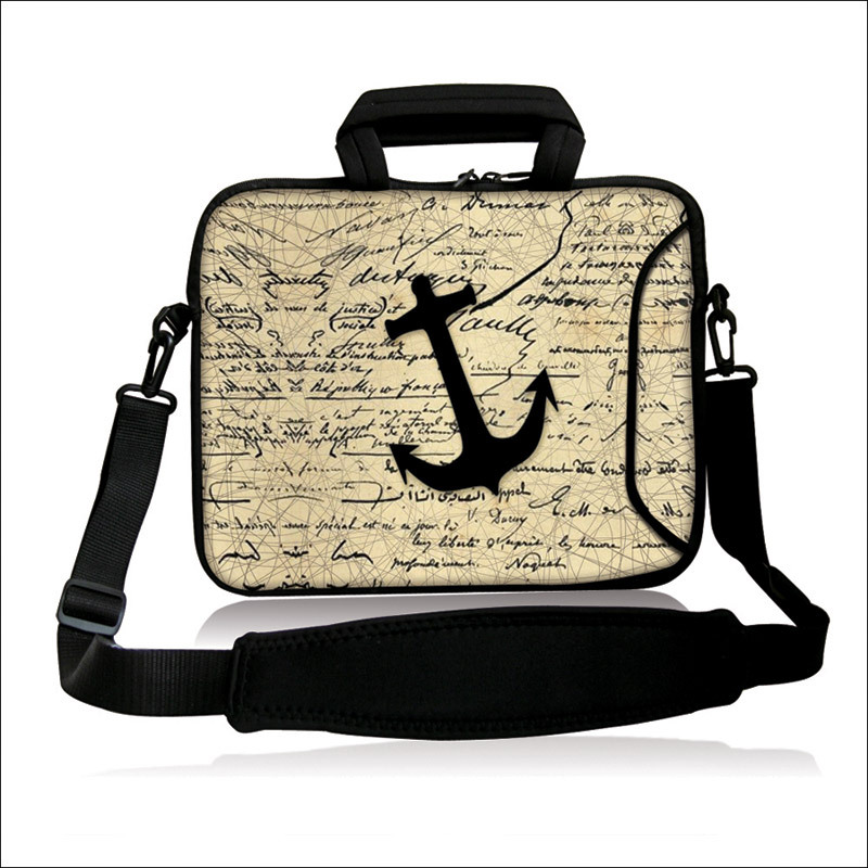 """10""""13""""14""""15""""17"""" Neoprene Computer Sling Bag Black Anchor Pattern Laptop Handle Carring Shoulder Satchel Pouch For Intel Sony(China (Mainland))"""
