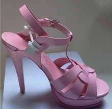 gladiator sandals women genuine leather shoes platform high heel sandals summer 2014 Black Nude Pink fashion free shipping YS(China (Mainland))