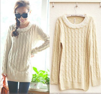 long knitted women cotton sweater beaded warm oversized