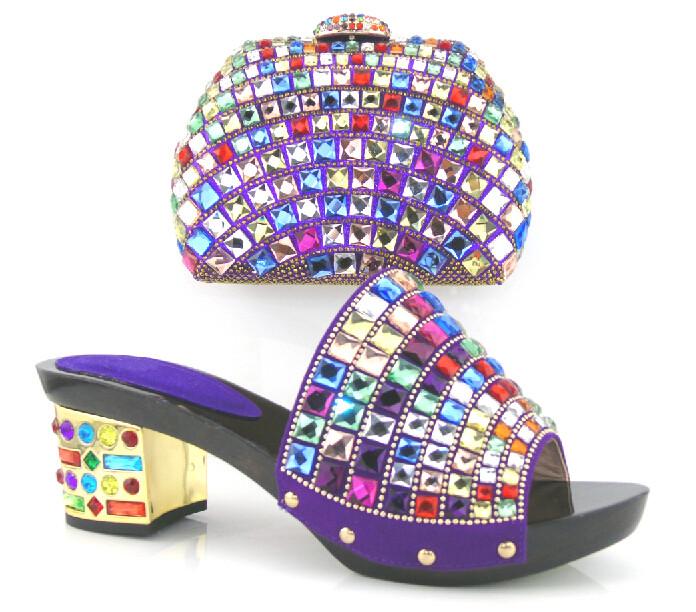 Бесплатная Доставка ! 2015 Новая Мода Итальянская Женская Обувь С Соответствующими Мешок Набор Хороший Африканских Высокие Каблуки С Брендом .фиолетовый цвет