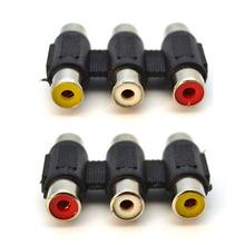 2pcs/lot 3 RCA Female to Female F/F Audio Video AV Coupler Converter Red/White/Yellow Socket Extension Adapter for DVD HDTV