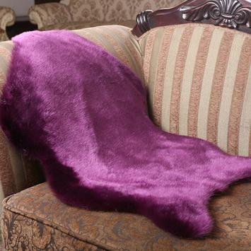 2016new sale shape faux fur Sheepskin Chair Cover Seat Pad Soft Carpet Hairy Plain Skin Fur Rugs Bedroom carpet Mat purple(China (Mainland))