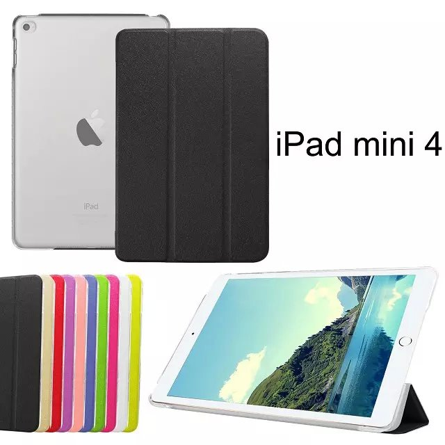Silk Folded Cover For Apple ipad mini 4 Mighty Small Stand Noble PU Leather Protector Case Shell Transparent Smart Back Cover(China (Mainland))