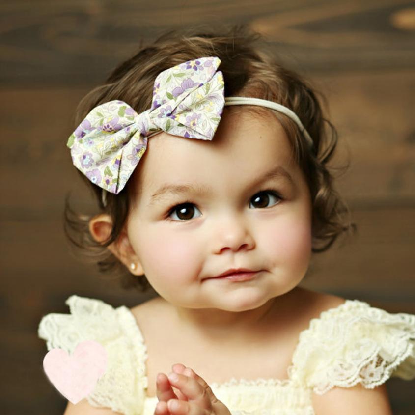 1PC Lovely Baby Girls Pinwheel Bow Headband Solid Ribbon Bow Headbands Cute Kids Hair Accessories Small Hair Bows Head Band(China (Mainland))