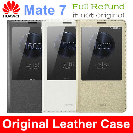 Original Huawei Ascend Mate 7 Phone Flip Leather Cover Case Smart View Funda Para + Tempered Glass Screen Protector Mate7 - 3C Dropshipping Center store