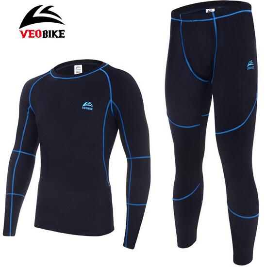 VEOBIKE Men's Thermal Base Layer Underwear Long Johns Cycling Long Sleeve Jersey Tights Pants Winter Outdoor Sports Clothing Set