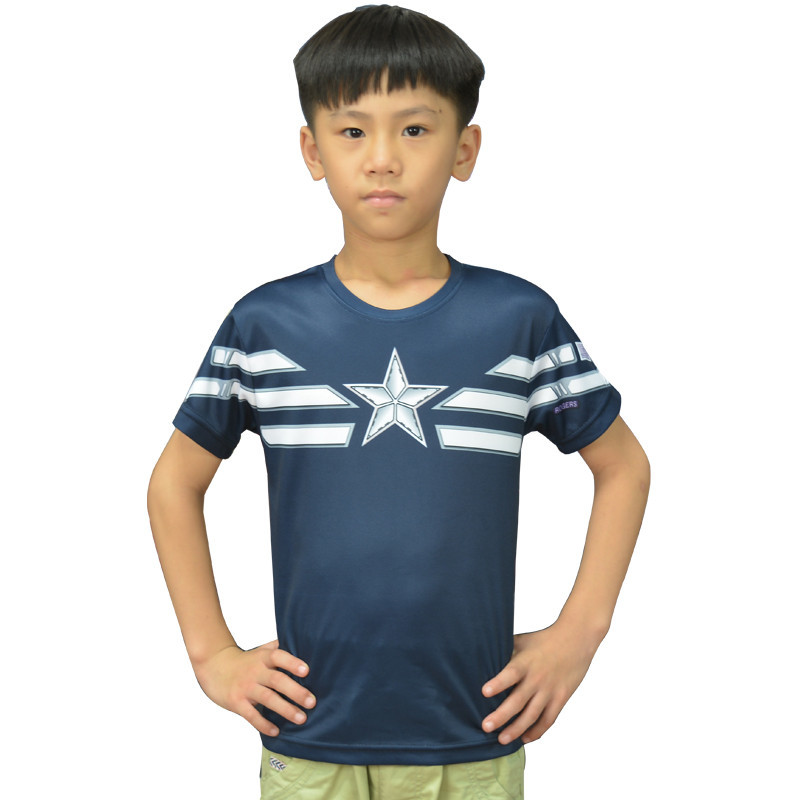 Children Unique Marvel Captain America T Shirts Super Hero Design Kids Top T Shirt Ringer Captain America Boys T-shirts Captain(China (Mainland))