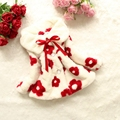 Floral Design Baby Girls Winter Jackets And Coats 2015 Toddler Girl Faux Fur Coat Bow Outerwear
