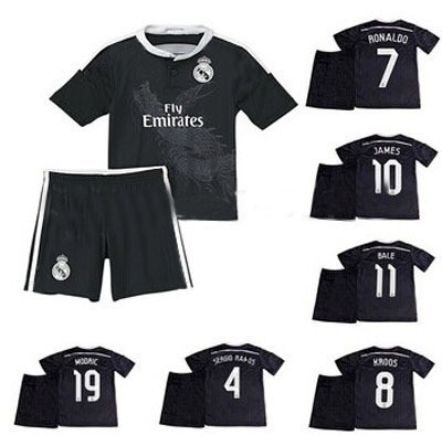 2015 Real Madrid away black kids shirts, Thailand best quality! You can customize the Real Kids black jersey(China (Mainland))